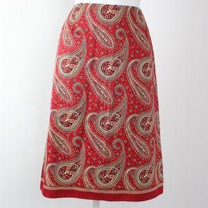 Liz Claiborne rust red tan paisley pencil skirt
